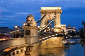 Walk across the Chain Bridge, Budapest, Hungary