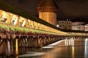 Walk across Kapellbrücke (Chapel Bridge), Switzerland