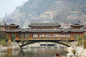 Walk across Chengyang Bridge, China