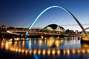 Walk across Gateshead Millennium Bridge, London, England