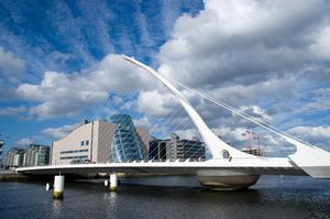 Walk across Samuel Beckett Bridge, Dublin, Ireland