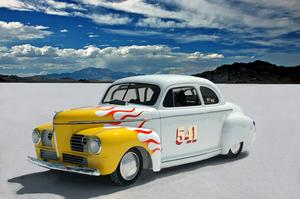 Drive on Bonneville Salt Flats, Utah