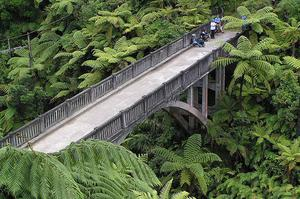 Walk across Bridge to Nowhere, Whanganui National Park, New Zealand
