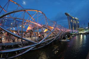 Walk across The Helix Bridge, Singapore